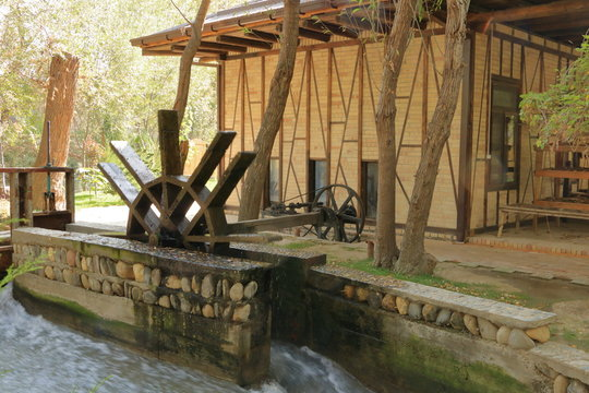 A view of traditional wooden waterwheel in Samarkand in Uzbekistan, Central Asia