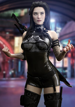 Futuristic sci fi female ninja warrior poses ready for battle with a futuristic urban neon background. 3d rendering