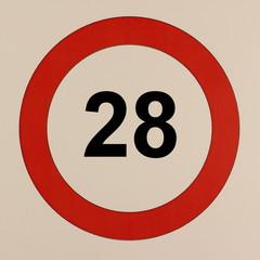 Grafische Darstellung des Straßenverkehrszeichen Maximalgeschwindigkeit 28 km/h