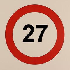 Grafische Darstellung des Straßenverkehrszeichen Maximalgeschwindigkeit 27 km/h