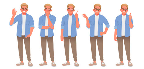 Set of character of a young man with various gestures. The guy welcomes, thinks, finds a solution, speaks and approves. Person for your project Fototapete