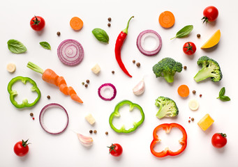 Healthy flat lay of sliced vegetables composition