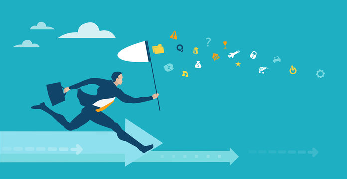 Businessman running with the butterfly net in hope to catch more money and better opportunity in life. Business concept illustration
