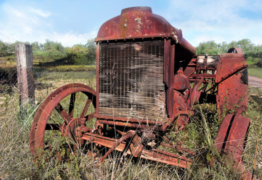 An old rusty tractor