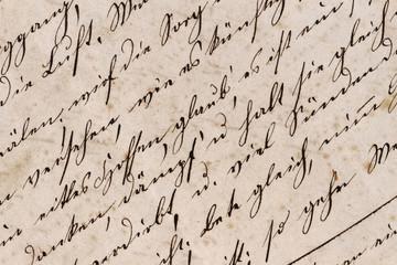 Historisches Schriftbild auf vergilbtem Schreibpapier - Mitte 19. Jahrhundert