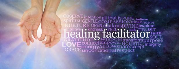 I am a healing facilitator word cloud - female open palm hands beside a HEALING FACILITATOR word cloud on a light burst and deep space dark blue background