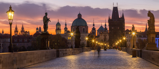 Prague - The Charles Bridge in the morning dusk.  Wall mural