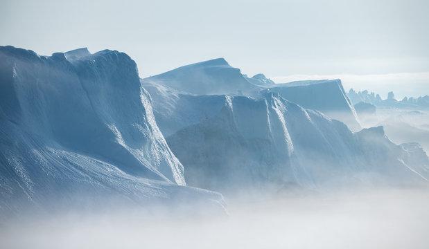 Beautiful landscape with large icebergs