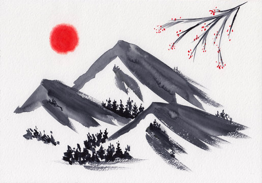 Watercolor landscape of mountain peaks with tree branch & red sun in Chinese Ink technique. Hand drawn calm mountains background - relax, restore & do meditation. Asian style sumi-e grisaille painting