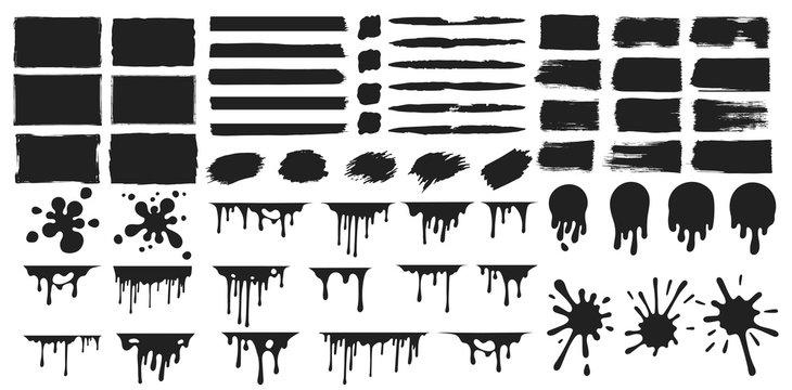 Set of rectangular paint splatters, grunge rough shapes. Chalk edge box frame. Distressed badge. Vector isolated ink background.