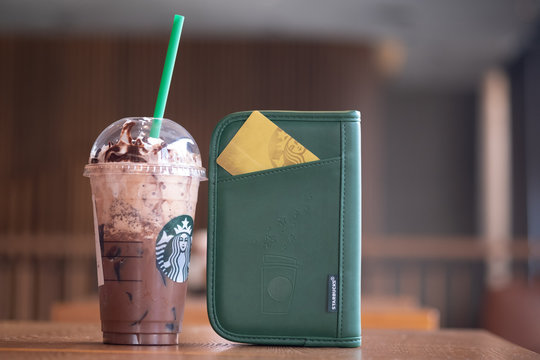 Bangkok, Thailand - January 5, 2020 : Glass of Starbuck coffee Frappuccino blended beverages with a new years gift exclusive