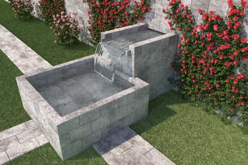 Steinbecken in welches aus einer Mauer Quellwasser fließt