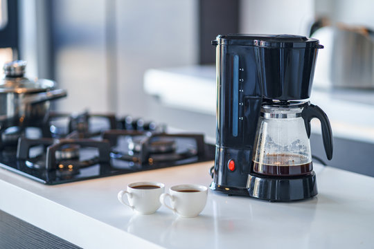 Coffee maker for making and brewing coffee at home. Coffee blender and household kitchen appliances for makes hot drinks