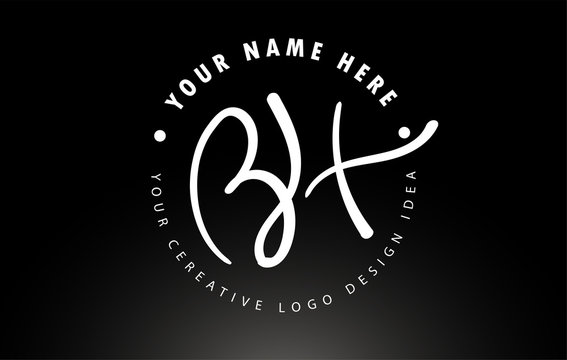 BH Handwritten Letters Logo Design with Circular Letter Pattern. Creative Handwritten Signature Logo Icon