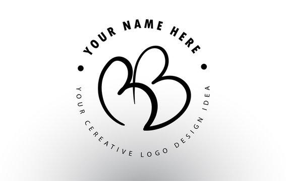 BB Handwritten Letters Logo Design with Circular Letter Pattern. Creative Handwritten Signature Logo Icon
