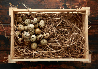 Quail eggs in wooden tray, basket with straw, nest