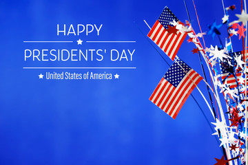 Presidents day message with flag of the United States Fotomurales