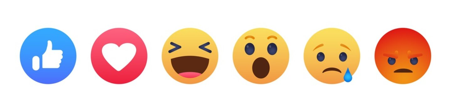 Facebook emoticon buttons. Collection of Emoji Reactions for Social Network. Kyiv, Ukraine - January 5, 2020