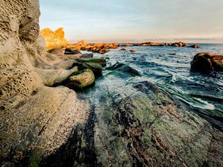 Foto op Canvas Fantasie Landschap Dangerous rocks at the coast of the straight of Gibraltar near Algeciras, Spain