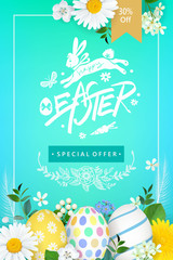 Spring festive Easter poster design with flowers,painted eggs and bunny doodle.Vector illustration