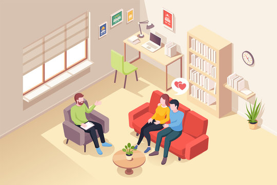 Couple at psychologist counseling, vector isometric illustration of people at psychologist counselor couch. Woman and man at psychology counseling session for love and life issues, family planning
