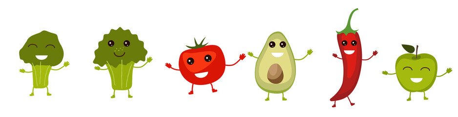 Set of funny fruits and vegetables characters smiling with arms and legs isolated on white background. Broccoli, tomato, aquacado, pepper, apple. Vector illustration in a flat style.