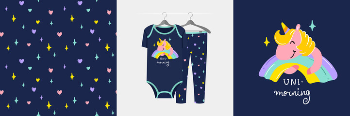 Wall Mural - Seamless pattern and illustration for kid with unicorn, Uni - morning.