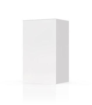 White matt box isolated on white background mockup