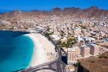 Foto auf Gartenposter Rosa dunkel Aerial view of Laginha beach in Mindelo city in Sao Vicente Island in Cape Verde