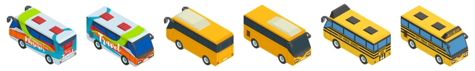 large selection of school tourist and city bus