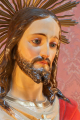 CATANIA, ITALY - APRIL 8, 2018: The carved statue of heart of Jesus in church Chiesa di San Giuseppe in Transito.