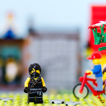 Orvieto, Italy - Portritrait of Lego Ninjago Minifigures. Defocused background.