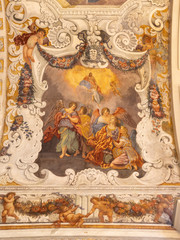 CATANIA, ITALY - APRIL 8, 2018: The detail glory of Santa Agata fresco from presbytery in church Chiesa di Sant'Agata al Borgo by Giovanni Lo Coco from 18. cent.