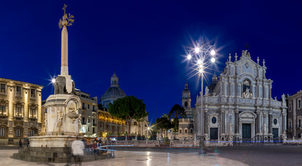 Wall Mural - CATANIA, ITALY - APRIL 8, 2018: The Basilica di Sant'agata at morning dusk.