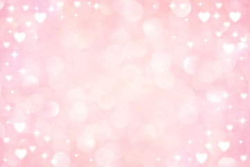 abstract blur soft gradient pink color background with heart shape and star glitter for...