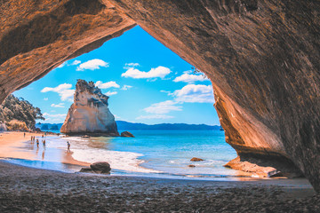 Self adhesive Wall Murals Cappuccino Cathedral Cove on the Coromandel Peninsula, North Island, New Zealand