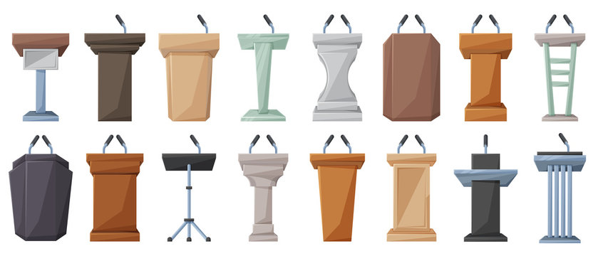 Podium of tribune cartoon vector illustration on white background . Rostrum and podium set icon.Isolated vector illustration icon tribune with microphone.
