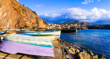 Beautiful scenery of Grand Canary island- scenic coastal town Puerto de Sardina in north