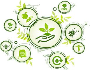 bio farming / organic agriculture icon concept – eco friendly pest control, saving water, healthy produce – vector illustration
