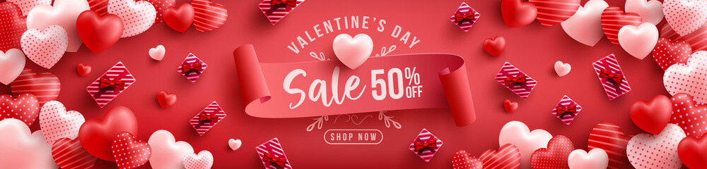 Valentine's Day Sale 50% off Poster or banner with many sweet hearts and on red background.Promotion and shopping template or background for Love and Valentine's day concept.Vector illustration eps 10 Fotobehang