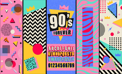 90s and 80s poster. Retro style textures and alphabet mix. Aesthetic fashion background and eighties graphic. Pop and rock music party event template. Vintage vector poster, banner. Fotobehang