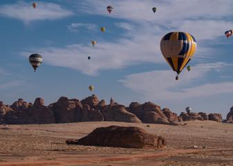 Printed roller blinds Balloon Winter at Tantora Hot Air Balloon Festival over Mada'in Saleh (Hegra) ancient site, Al Ula, Saudi Arabia