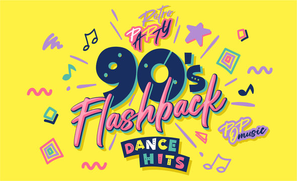 90s poster. Nineties flashback. Retro music style textures and objects mix. Aesthetic fashion background and old fashion graphic. Vintage vector 90's invintation card, banner. Easy editable template.
