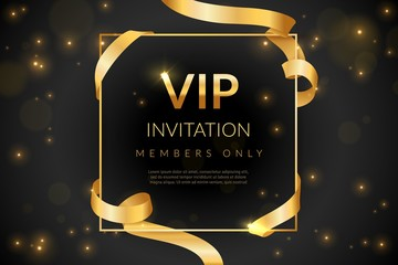 VIP. Luxury gift card, vip invitation coupon, certificate with gold text, exclusive and elegant logo membership in prestige club vector design