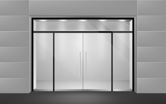 Store front. View from outside to empty shop boutique interior with glass door and big windows. Supermarket vector mockup