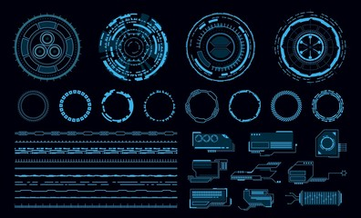 Hud elements. Futuristic blue virtual graphic touch user interface, web application. Line and circle frame and pointer, display vector elements