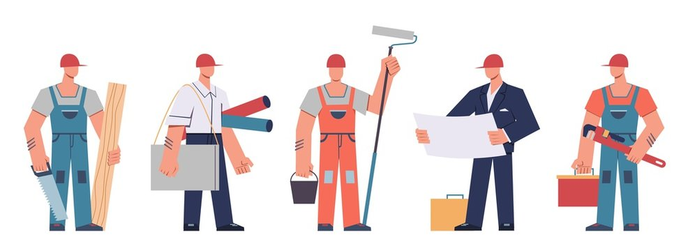 Builders team. Construction engineers, contractors and architects, technicians and professional builders with tools, cartoon vector concept