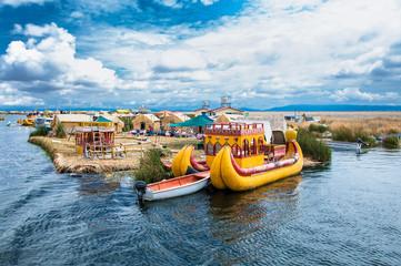 Uros floating islands on Titicaca lake in Puno, Peru, South America.