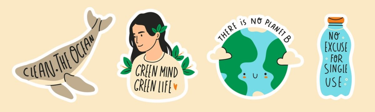 Earth day. Save the planet theme. Zero waste, plastic free concept. Green world, ecology problem. Hand drawn colored vector set. Trendy illustration. Various quotes. Pre-made stickers