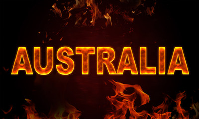 Papiers peints Affiche vintage fires in Australia, burning word Australia on flamed background